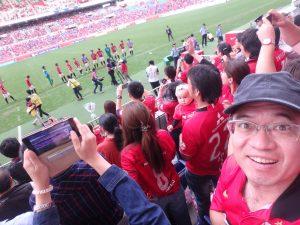 勝利のサッカー観戦